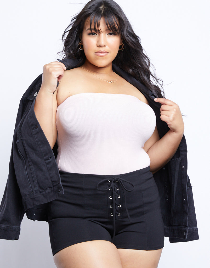 Curve Summer Tube Top Plus Size Tops Blush 1XL -2020AVE