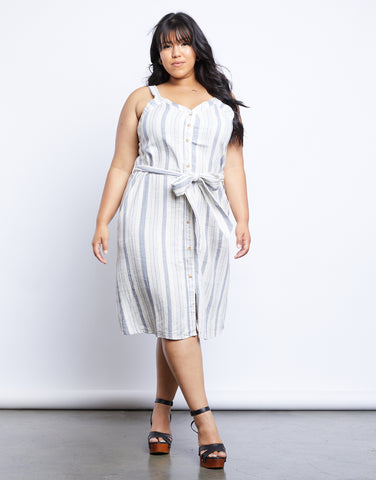Plus Size The Sweet Escape Striped Midi Dress
