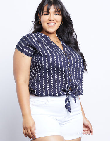 Plus Size Tribal Print Striped Blouse