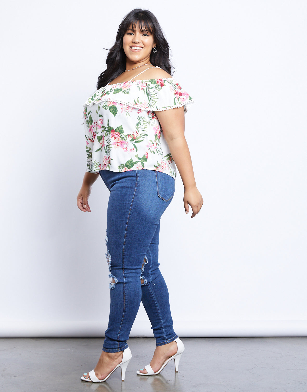 Plus Size Tropical Island Floral Top