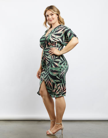 Plus Size Tropical Oasis Print Dress
