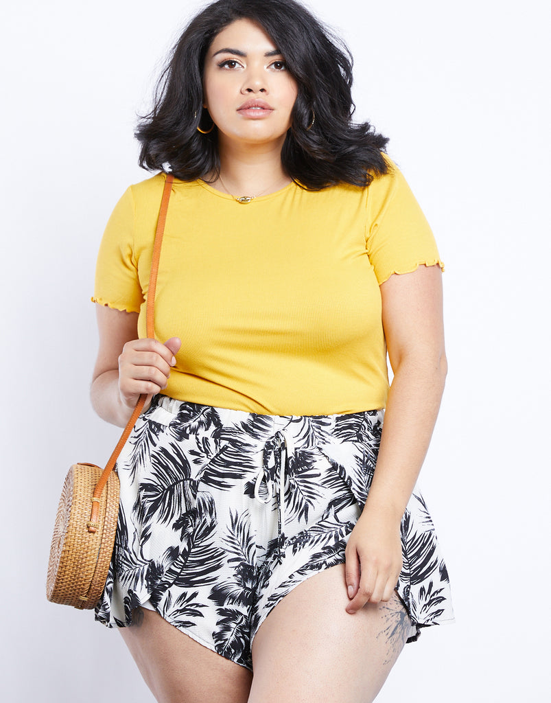 Curve Tropical Vibes Palm Print Shorts Plus Size Bottoms -2020AVE