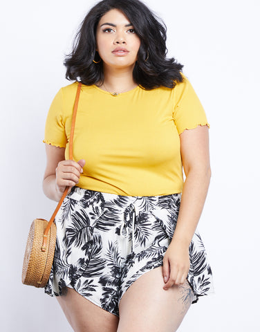 Plus Size Tropical Vibes Palm Print Shorts