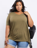 Plus size V Neck Scrunchie Tee
