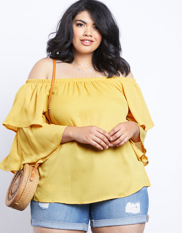 Plus Size Weekend Vibes Off The Shoulder Chiffon Top
