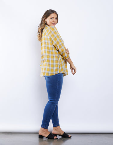 Plus Size Western Touch Plaid Shirt