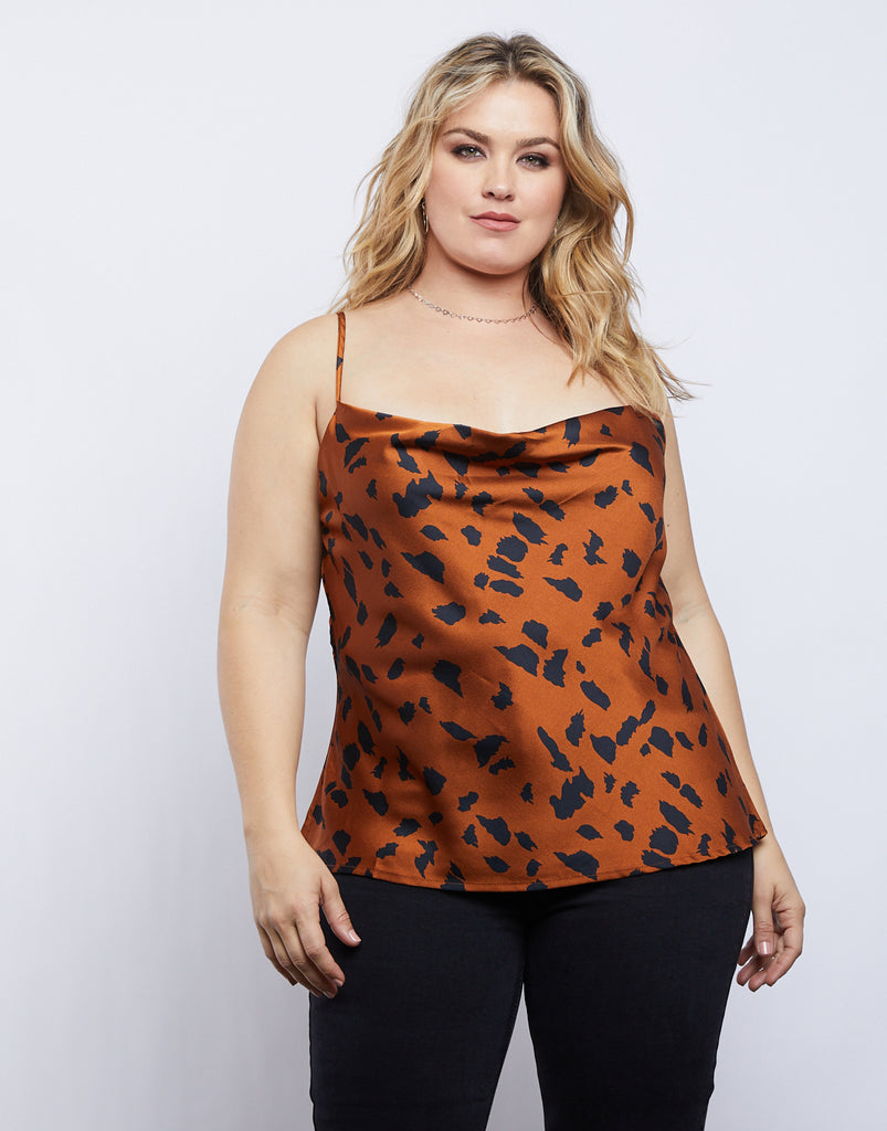 Curve Wildin' Satin Tank Plus Size Tops -2020AVE