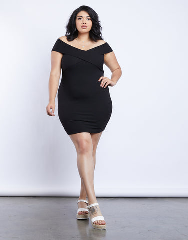 Plus Size Wrap Around Off The Shoulder Dress