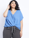 Plus Size Wrap Me Up Chiffon Twist Front Top