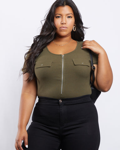Plus Size Zip It Up Bodysuit