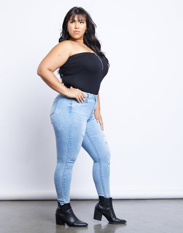 Plus Size Zip Up Tube Top