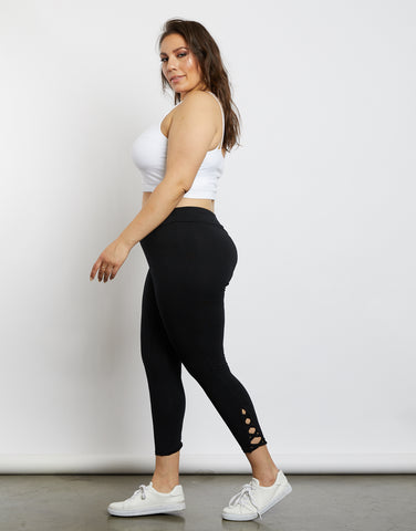 Plus Size Criss Cross Black Leggings