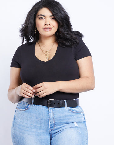 Plus Size Everyday Basic V-neck Tee Bodysuit