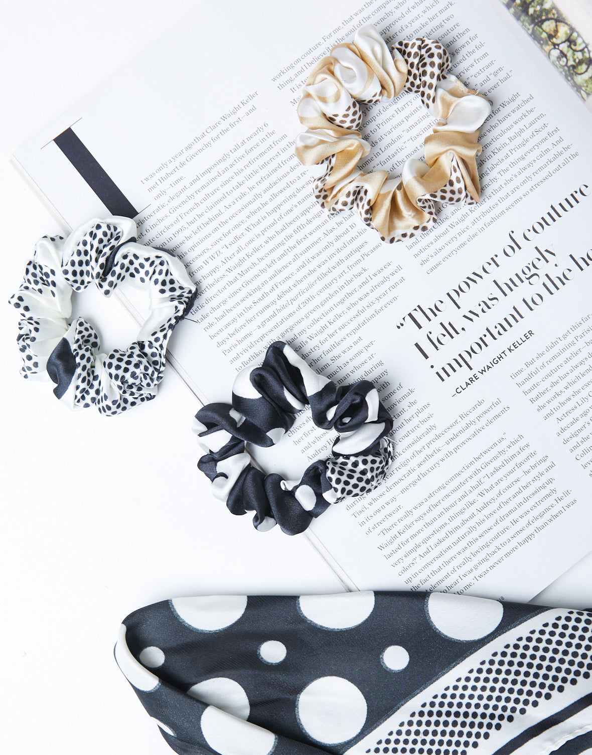Polka Dot Scarf And Scrunchie Set
