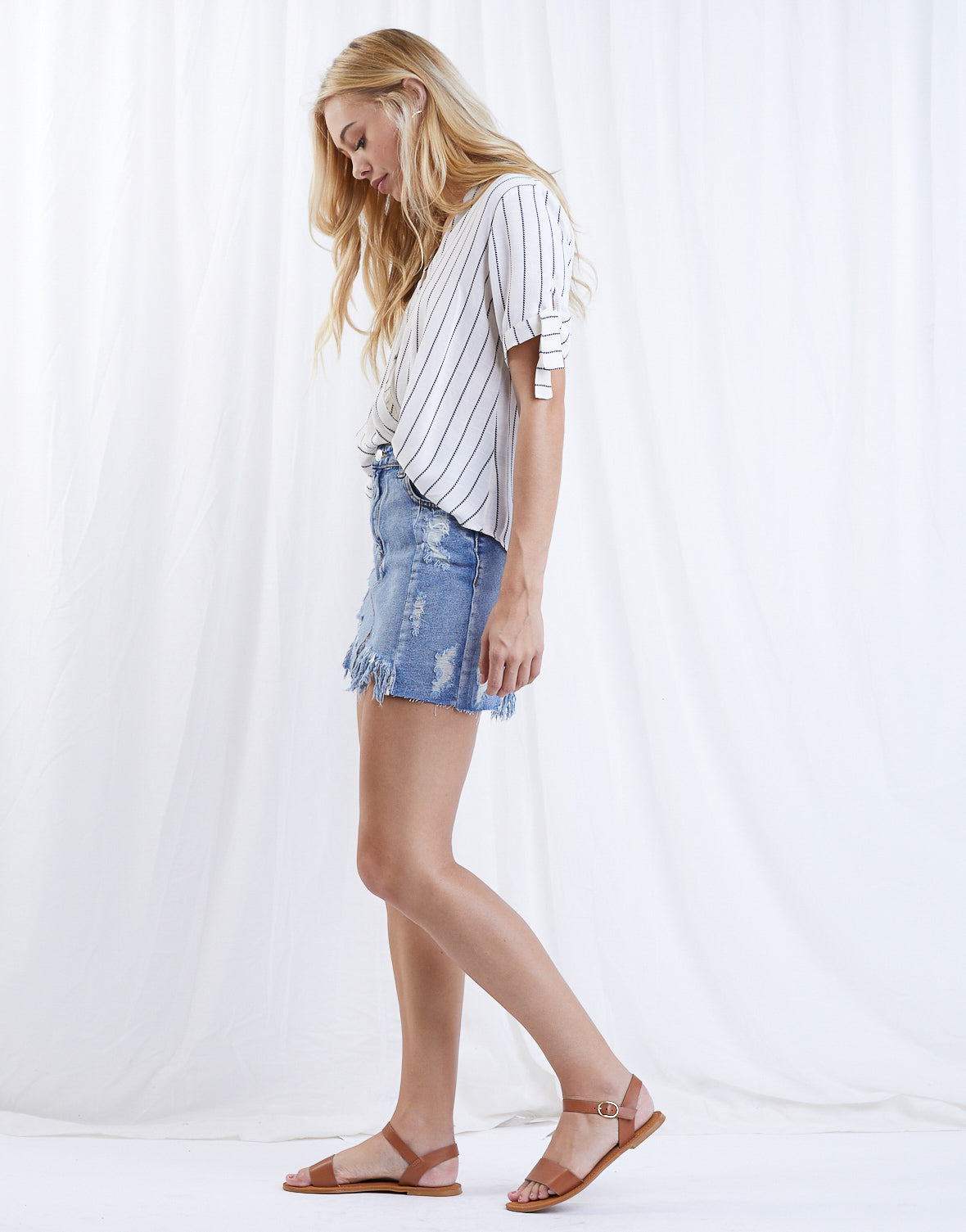 Put At Ease Denim Skirt