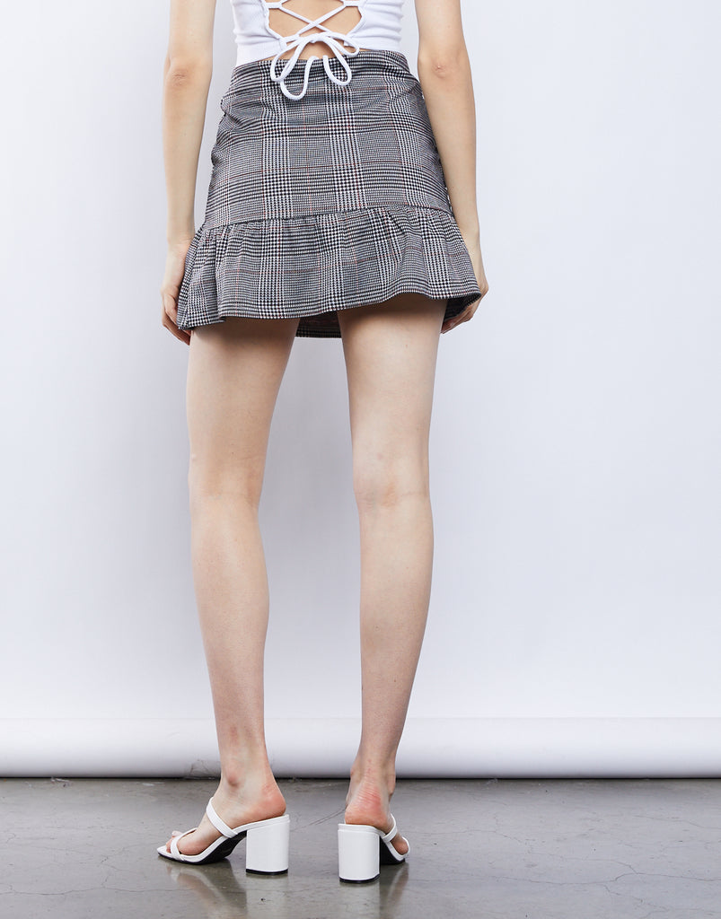 Quinn Ruffled Plaid Skirt Bottoms -2020AVE