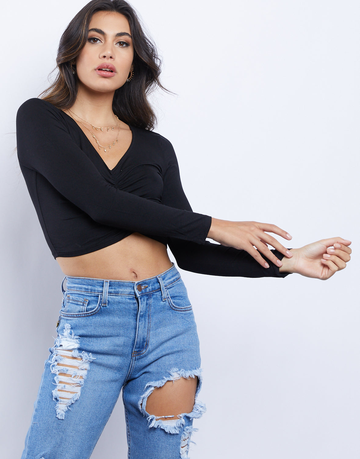 Rachel Ruched Long Sleeve Top