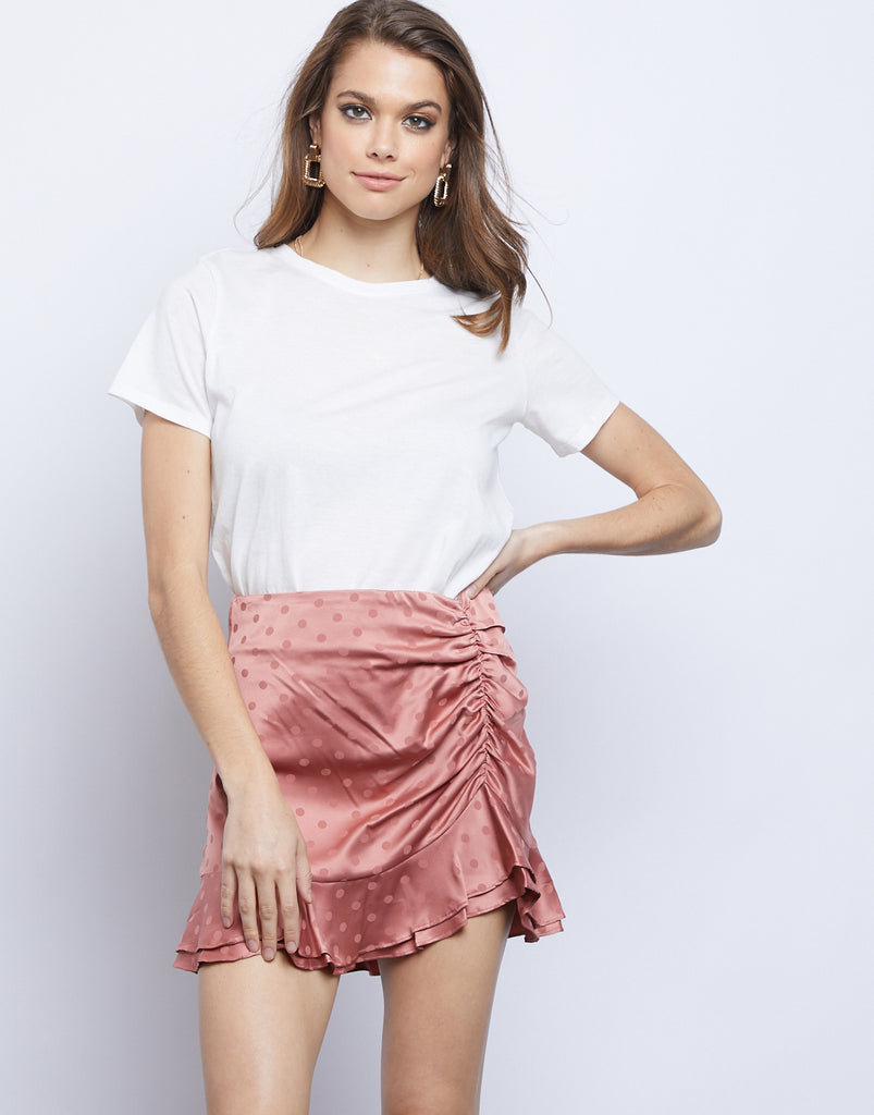 Rae Ruched Mini Skirt Bottoms Mauve XS -2020AVE
