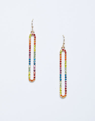 Rainbow Long Oval Earrings