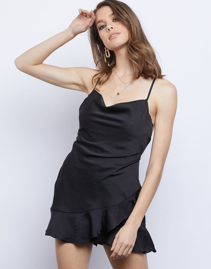 Raven Cowl Neck Romper Dresses Black Small -2020AVE