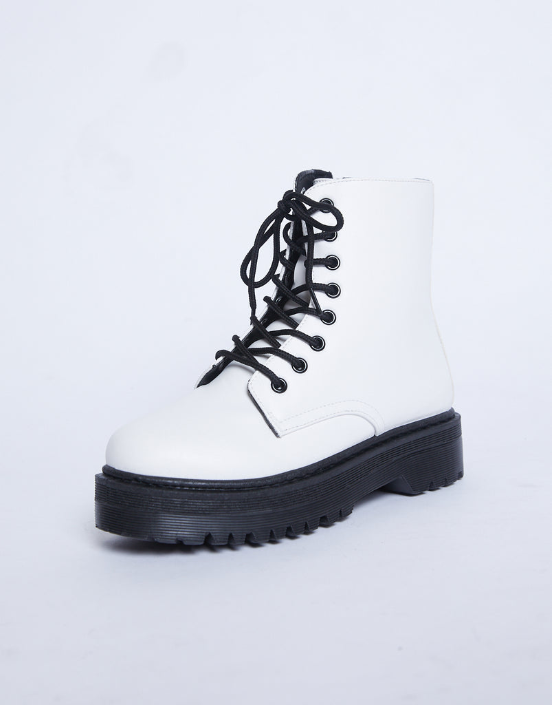 Raven Platform Combat Boots Shoes White 5 -2020AVE