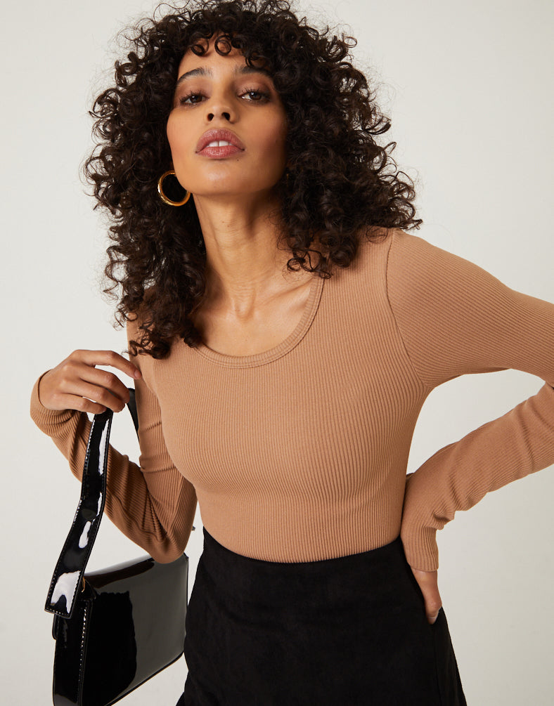 Bodycon Long Sleeve Shirt Tops Brown S/M -2020AVE