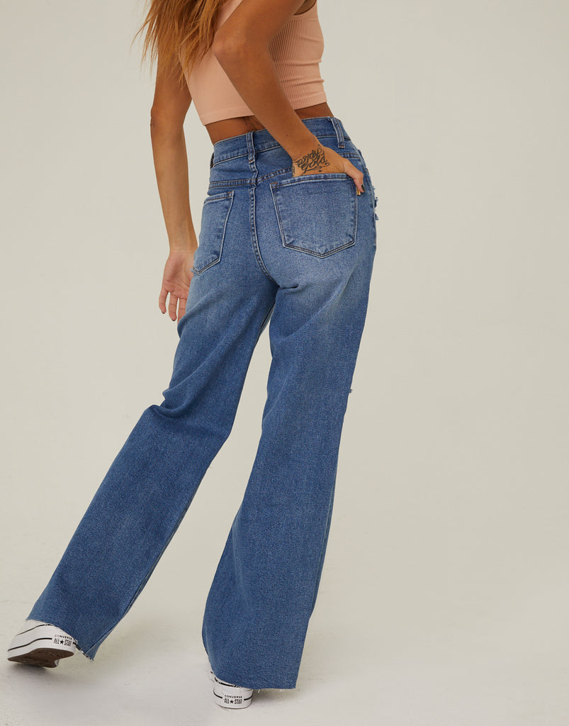 Distressed Wide Leg Jeans Bottoms -2020AVE