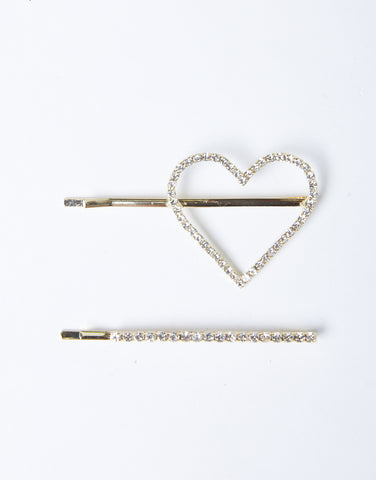 Rhinestone Heart Hair Clip Set
