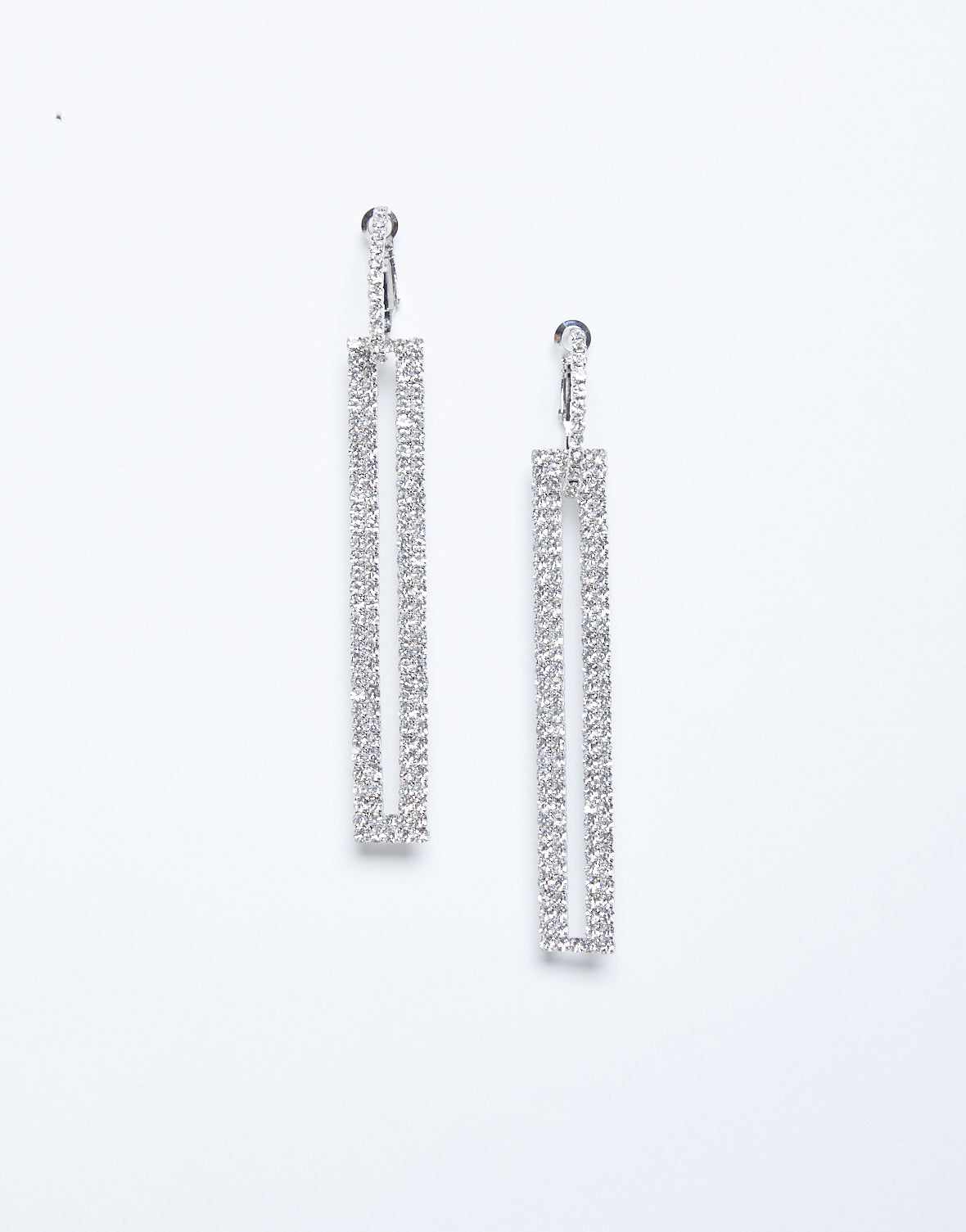 Rhinestone Rectangle Earrings