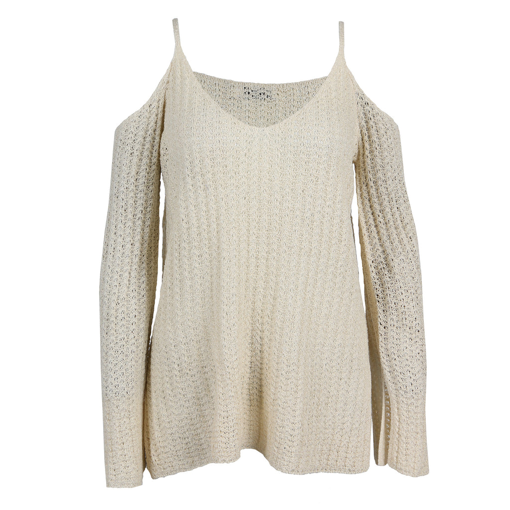 Ribbed Cold Shoulder Sweater Top - 2020AVE