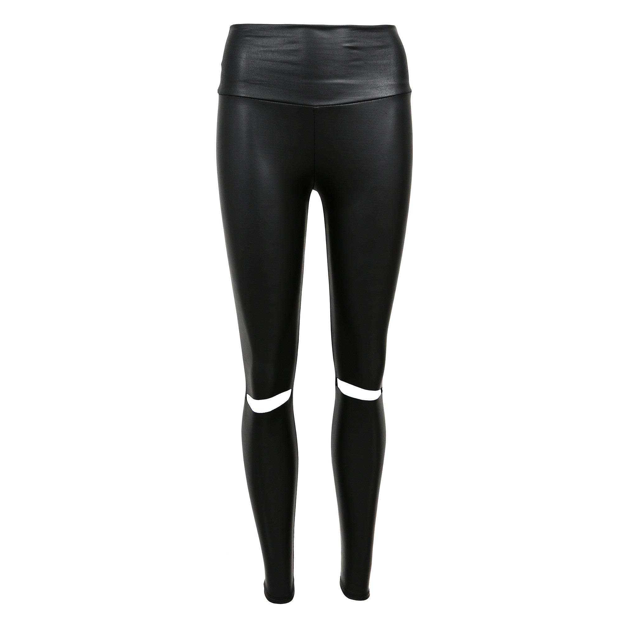 Ripped Knees Leather Leggings - 2020AVE