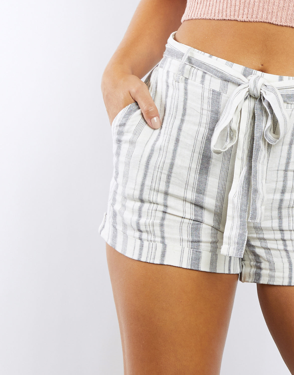 Road Trip Striped Linen Shorts