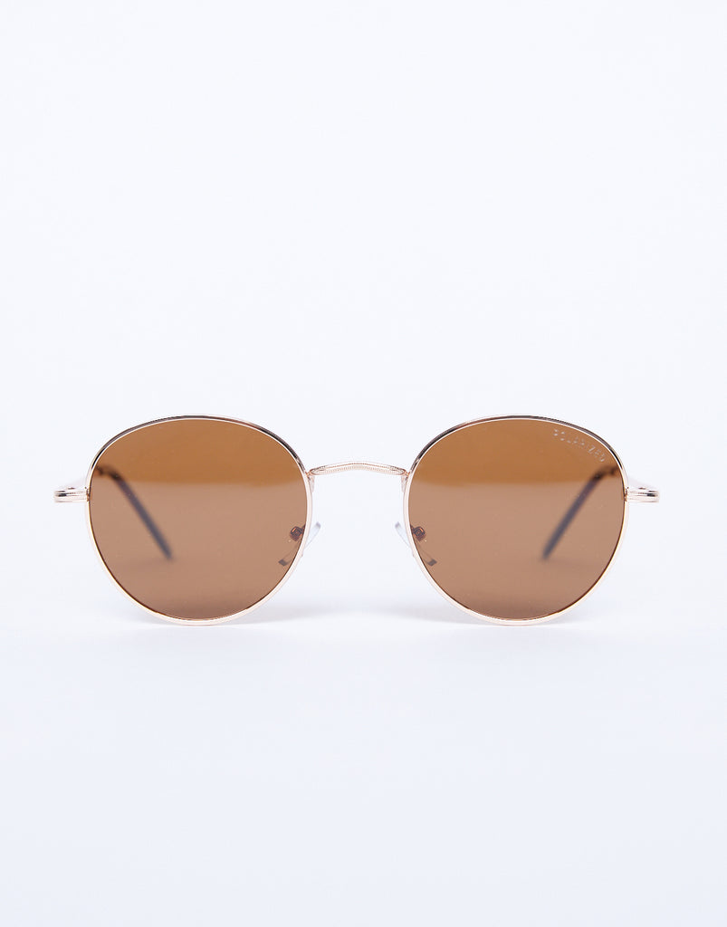 Round And Around Sunglasses Accessories Brown/Gold One Size -2020AVE