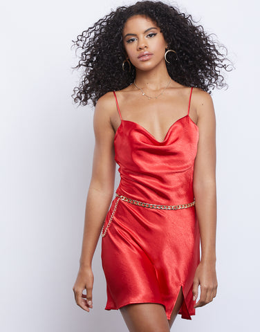 Ruby Red Satin Slip Dress