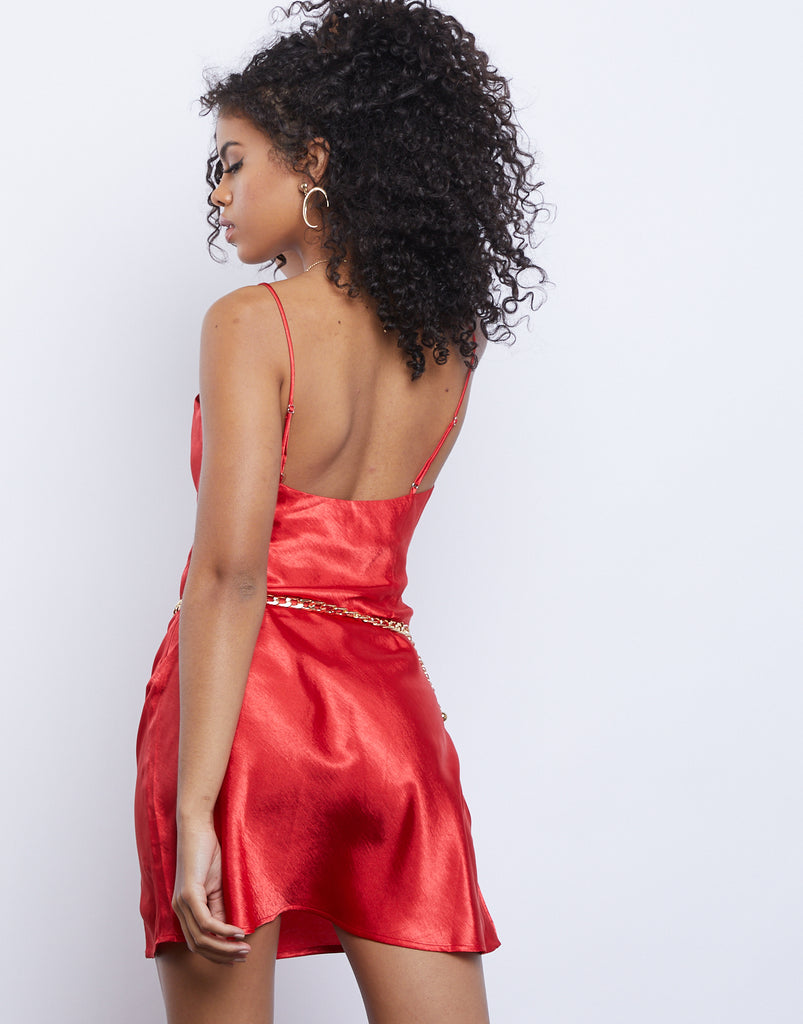 Ruby Red Satin Slip Dress Dresses -2020AVE