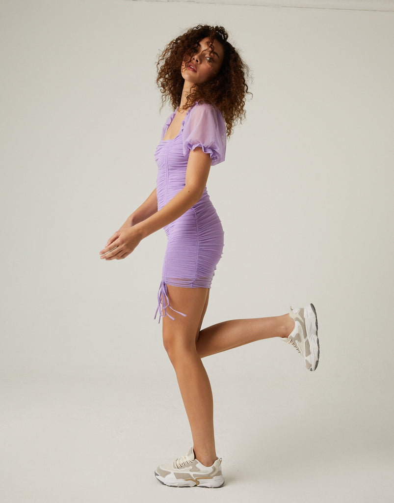Ruched Mesh Mini Dress Dresses Lilac Small -2020AVE