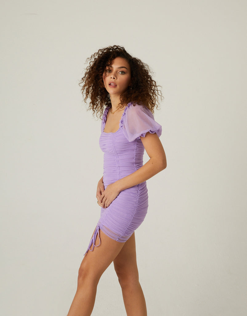 Ruched Mesh Mini Dress Dresses -2020AVE