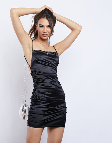 Ruched Satin Mini Dress