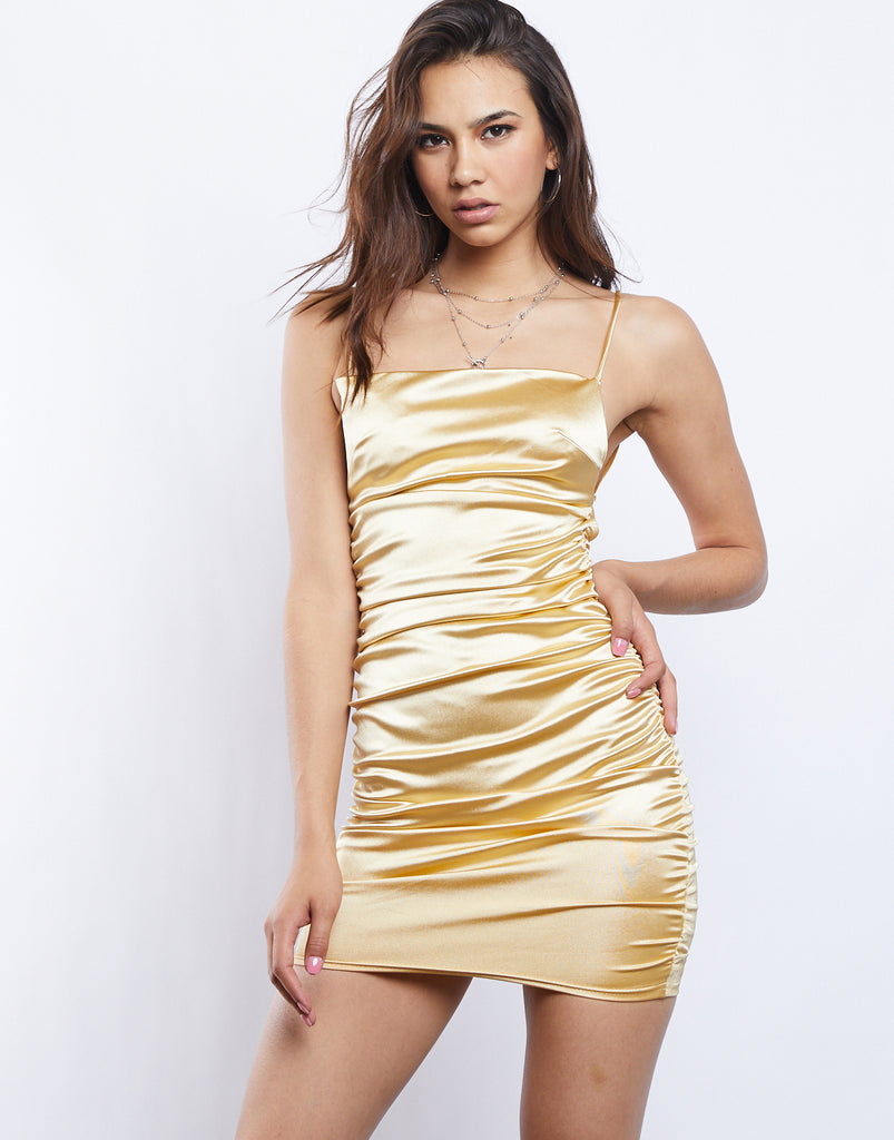 Ruched Satin Mini Dress Dresses Gold Small -2020AVE