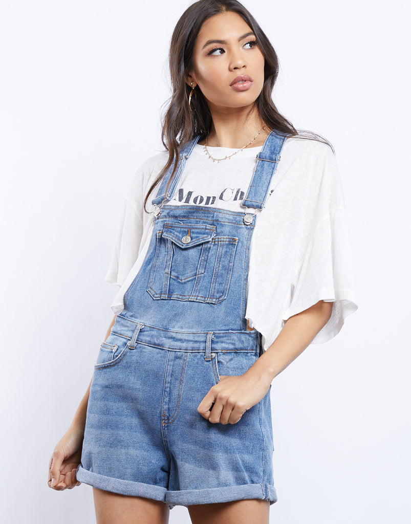 Super Down Denim Overall Shorts Rompers + Jumpsuits Medium Blue Small -2020AVE