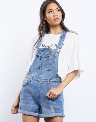 Super Down Denim Overall Shorts