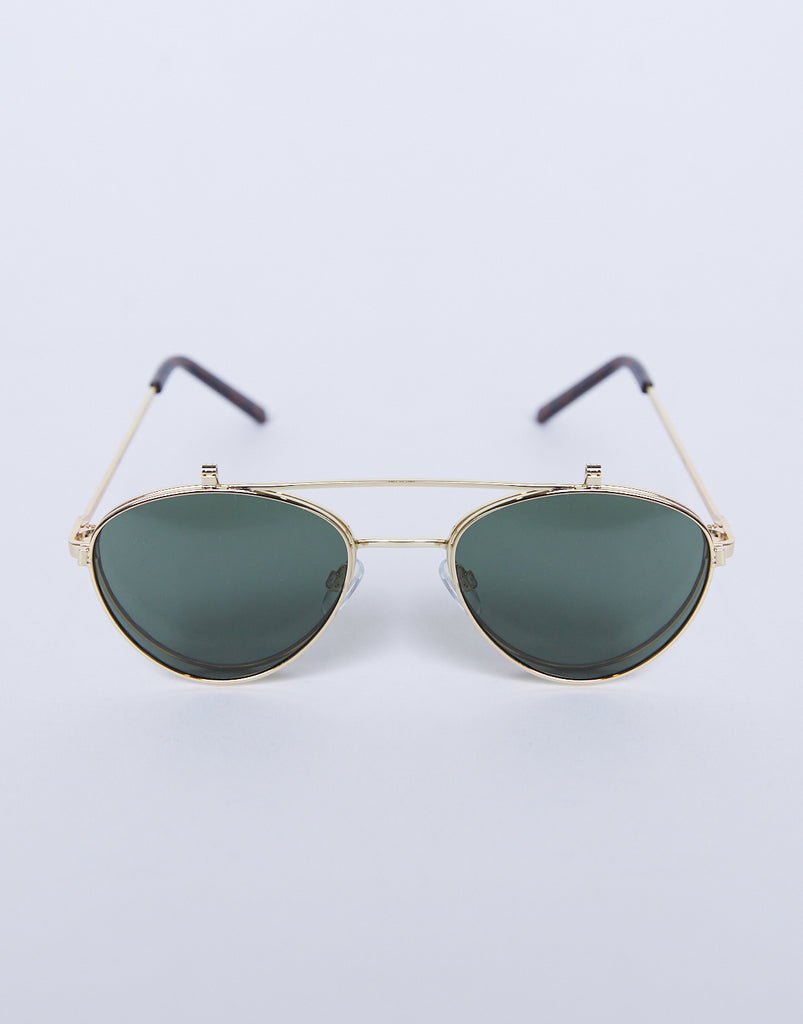 Seeing Double Flip-Up Sunglasses Accessories Green/Gold One Size -2020AVE