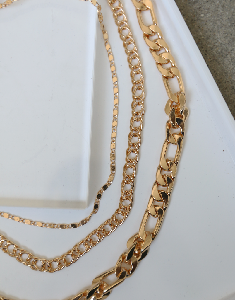 Sabre Three Layer Chain Necklace Jewelry Gold One Size -2020AVE