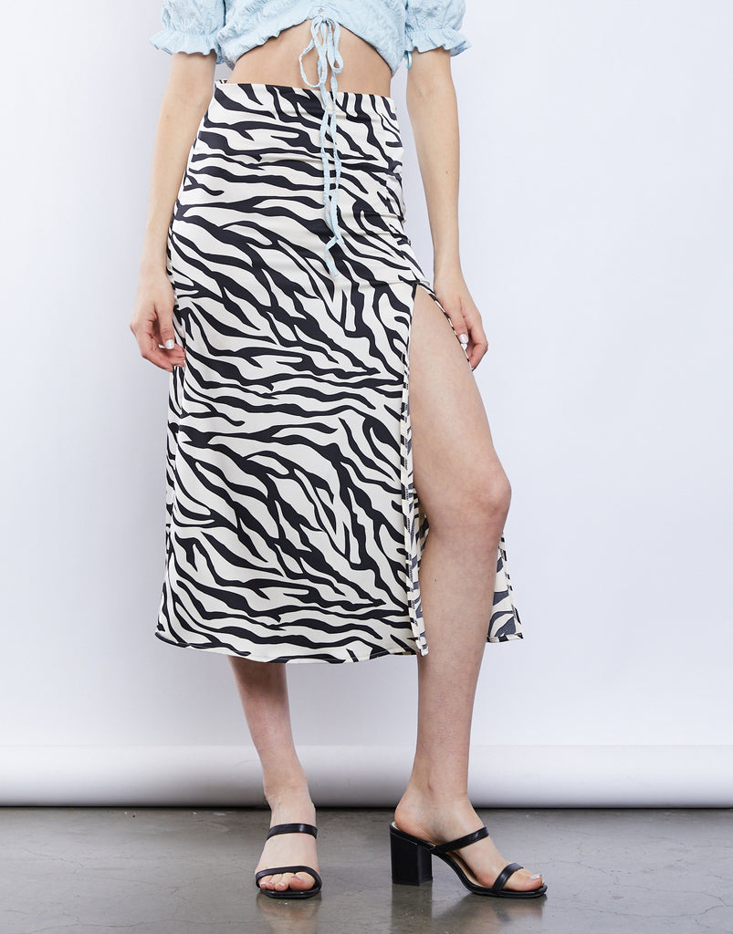 Saharah Zebra Slit Midi Skirt Bottoms -2020AVE