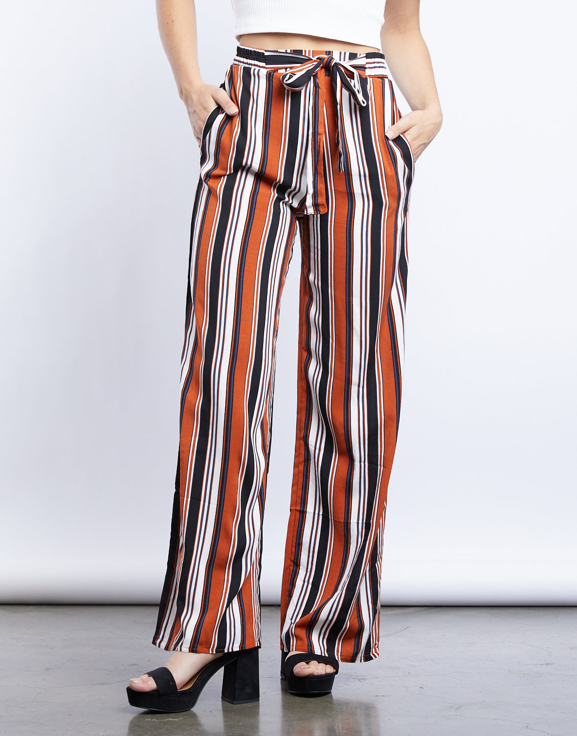 Sammy Striped Tie Belt Pants