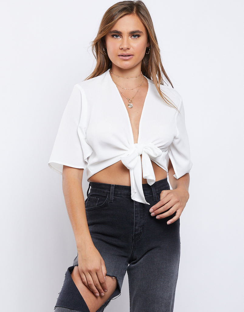 San Tropez Tie Front Top Tops White Small -2020AVE