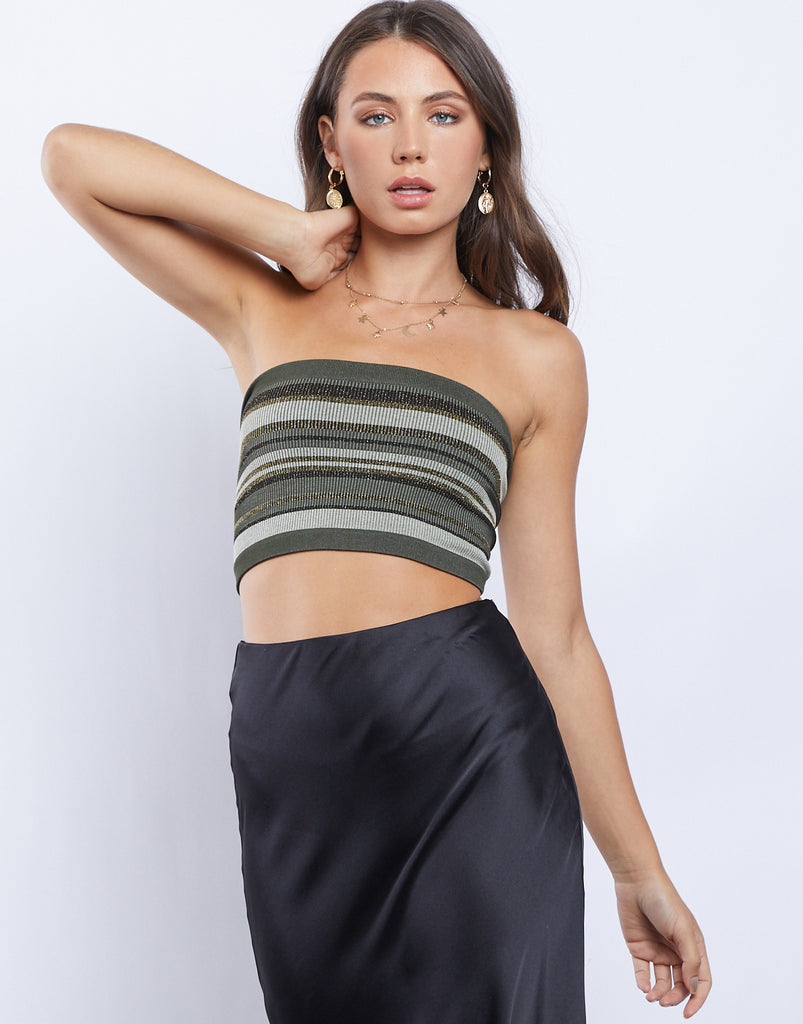 Sparkling Stripes Tube Top Tops Olive One Size -2020AVE