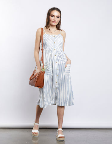 Sea and Sky Striped Midi Dress