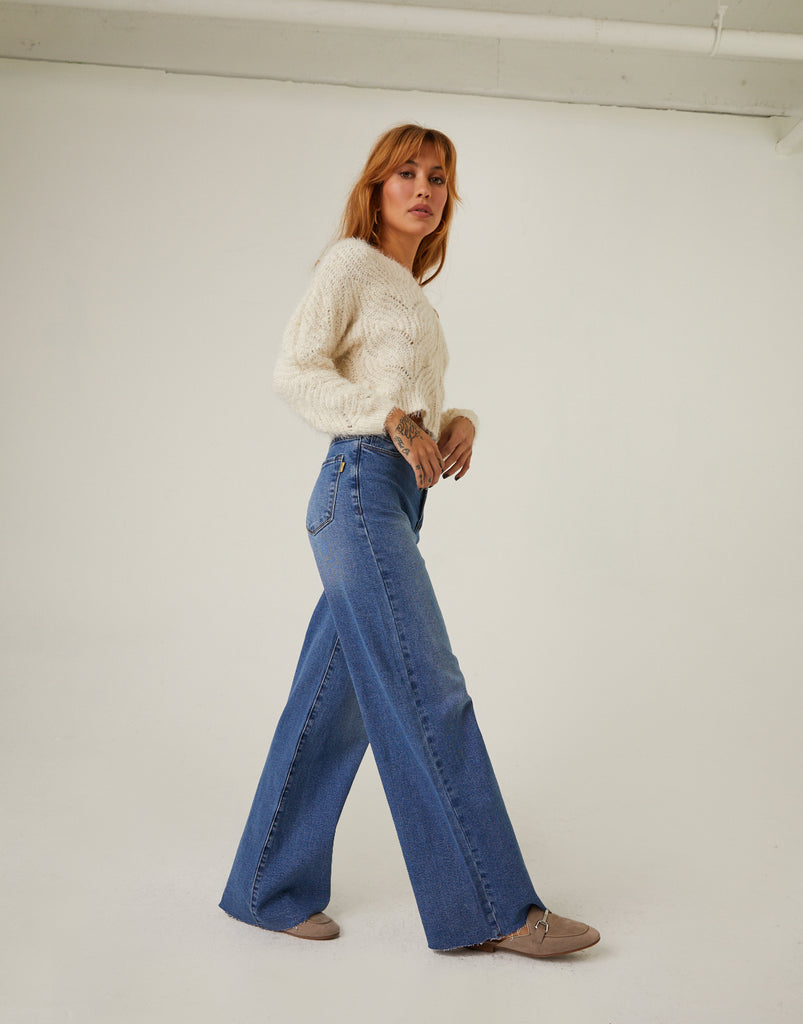 High Waisted Wide Leg Jeans Bottoms -2020AVE