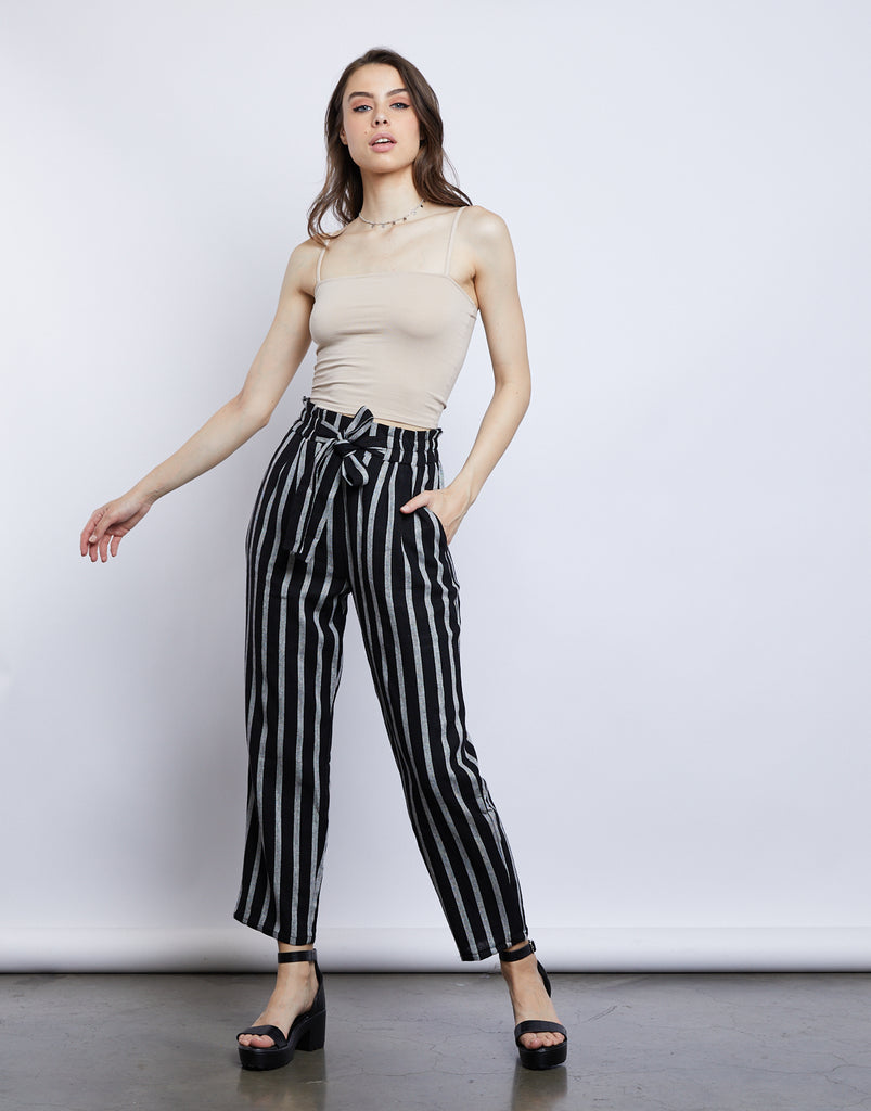 Shay Striped Linen Pants Bottoms Black Small -2020AVE